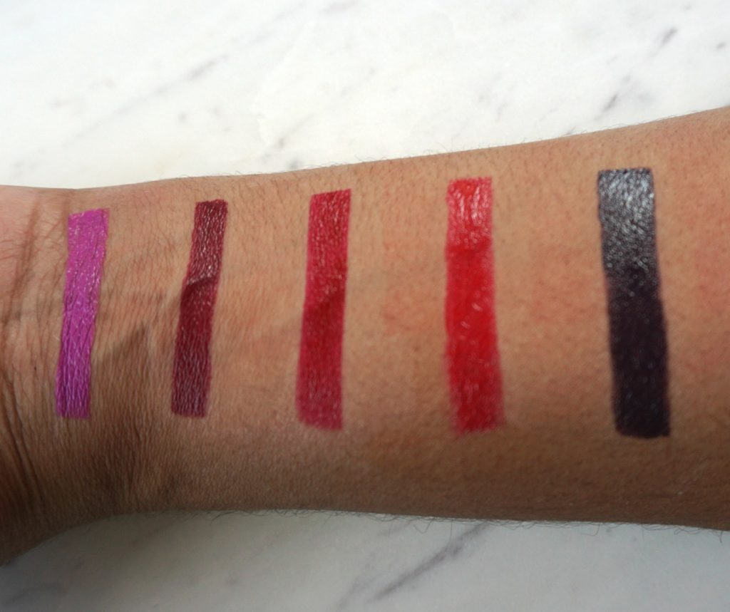 Makeupforever artist acrylip lipstick swatches colors 500,501,401,400,600