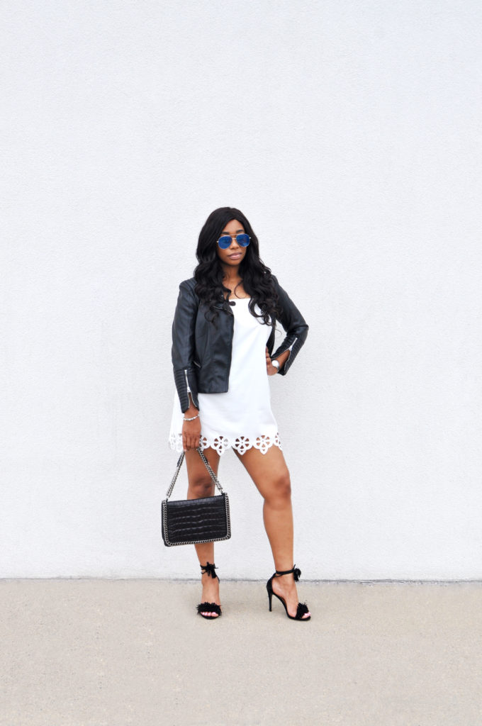 white cutout off the shoulder dress