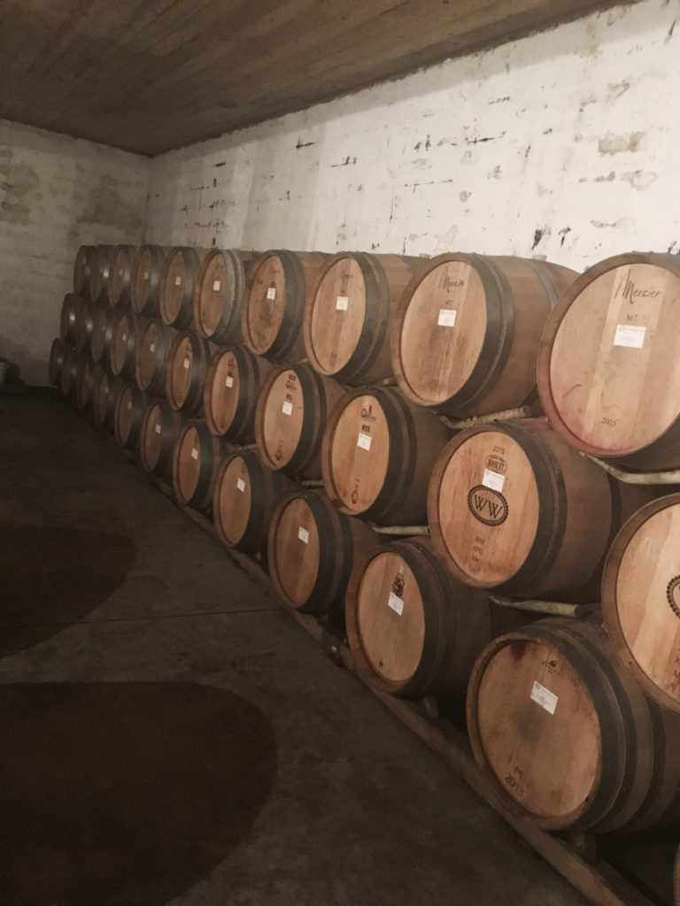 Wine in barrels at Williamsburg winery