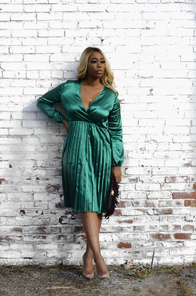 chimere nicole beauty influencer in green dress