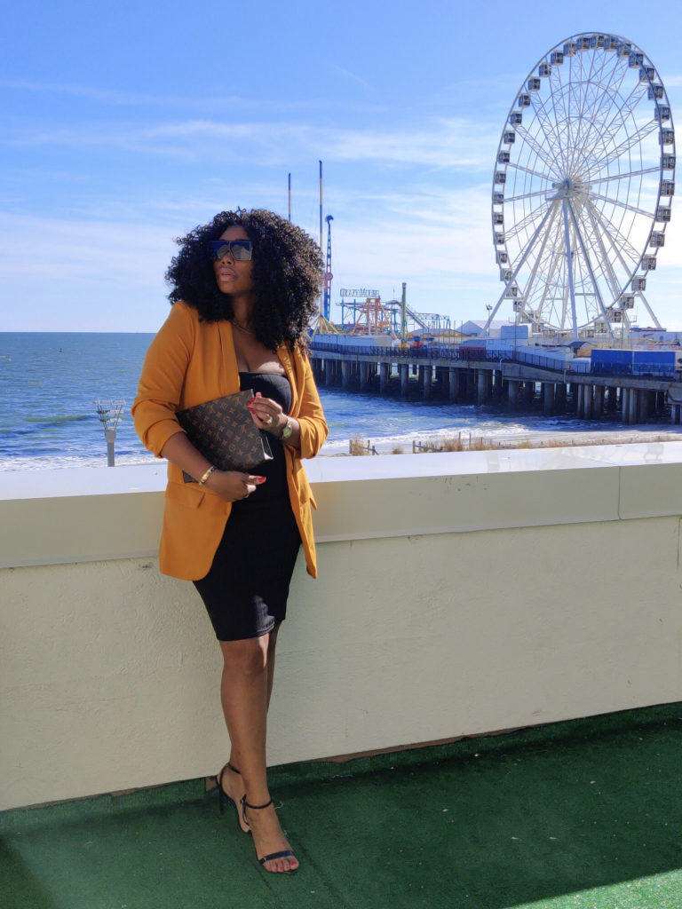 Beautiful black woman blogger chimere nicole, mustard blazer, black tub dress,
