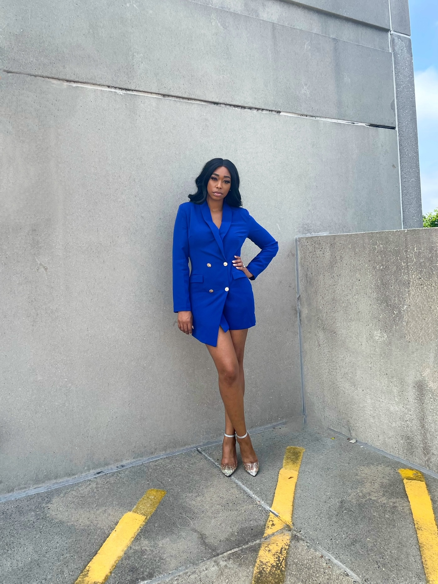 Chimere Nicole wearing  Navy gold blazer dress from prettylittlething